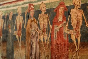 Fresco Danse macabre Sv. Trojika-church,  the peninsula Istria (Croatia and Slovenia)  hiking trails