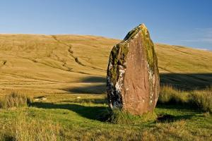 standing stone, the National Park Brecon Beacons Wales hiking trails