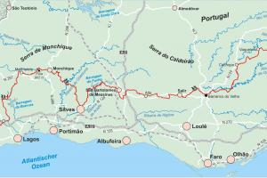 the map via Algarviana  ( de Zwerver )   hiking trails