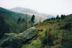 Glenmalure valley in the rain Wicklow way hiking trails Ireland
