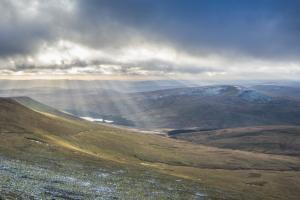 Brecon Beacons, the sun breaks through, hiking trails Wales